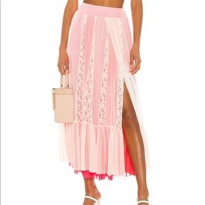 We Are HAH Skirts - We Are HAH Pink Lace Maxi Skirt (Revolve)